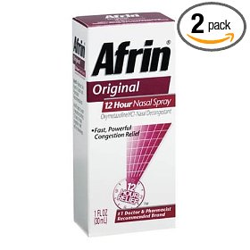Afrin 12 hour decongestant nasal spray, original, 1-ounce pumps (pack of 2)