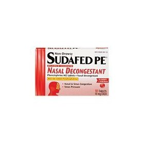 Sudafed pe nasal decongestant 10 mg tablets - 18 each