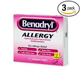 Benadryl allergy, diphenhydramine hydrochloride antihistamine, ultratab tablets - 24 count (pack of 3)