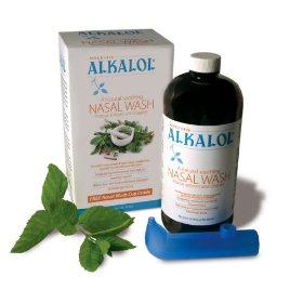 Alkalol - a natural soothing nasal wash, mucus solvent and cleaner kit -  with cup, 16-ounce