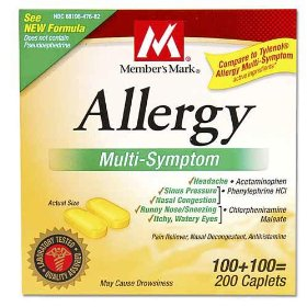 Member's mark - allergy multi-symptom, 200 caplets (compare to tylenol allergy)