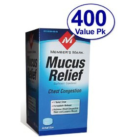 Member's mark - mucus relief, guaifenesin 400 mg, expectorant, 400 tablets (compare to mucinex)