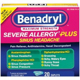 Benadryl severe allergy plus sinus headache relief, caplets 20 caplets