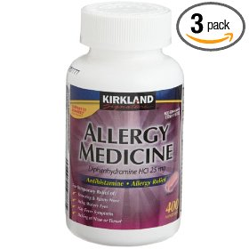 Kirkland signature allergy medicine diphenhydramine hci 25 mg, 400 minitabs,  bottles (pack of 3)