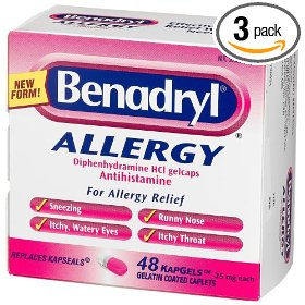 Benadryl allergy relief 48 count kapgels,  boxes (pack of 3)