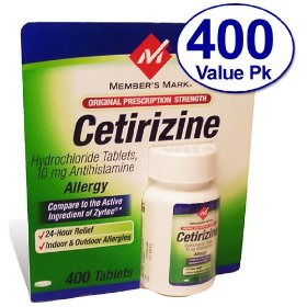 Members mark cetirizine allergy tablets, 400 count
