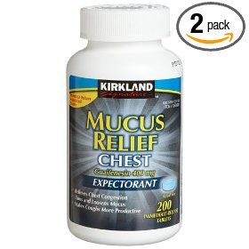 Kirkland signature mucus relief chest expectorant (guaifenesin 400 mg), 200-count immediate-release tablets (2 pack)