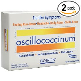 Boiron homeopathic medicine oscillococcinum for flu, 6-count boxes of .04-ounce doses (pack of 2)
