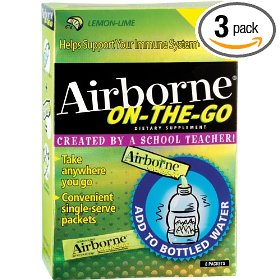 Airborne effervescent health formula packets, on-the-go lemon lime, 8-count boxes (pack of 3)