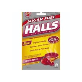 Halls fast relief sugar free cough drops, honey berry flavor, 25 drops / pack, 12 ea