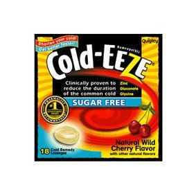 Cold-eeze sugar free lozenges with zinc gluconate glycine, wild cherry 18 ea