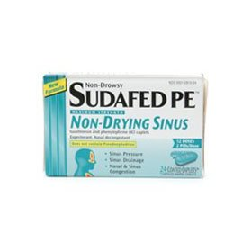 Sudafed pe maximum strength, non-drowsy, non-drying sinus, coated caplets 24 ea