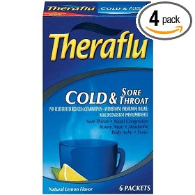 Theraflu cold & sore throat packets, natural lemon flavor, 6 packets (pack of 4)