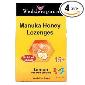 Wedderspoon organic manuka lozenges with lemon, 4-ounce pouch (pack of 4)
