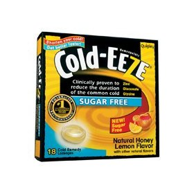 Cold-eeze sugar free lozenges with zinc gluconate glycine, natural honey lemon 18 ea