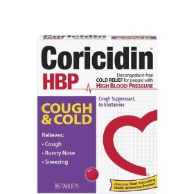 Coricidin hbp antihistamine cough & cold suppressant for people with high blood pressure 16 ea