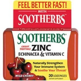 Sootherbs zinc echinacea & vitamin c, real wild cherry, 30 lozenges, best by 10/10, last production before it was discontinued. limited time offer.