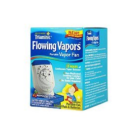 Triaminic flowing vapors with mentholated cherry - portable fan + 3 refill pads + batteries,(triaminic)