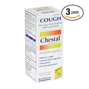 Boiron homeopathic medicine chestal homeopathic cough syrup, honey, 4.2-ounce bottles (pack of 3)