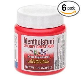 Mentholatum ointment, cherry chest rub for kids, 1.76-ounce jars (pack of 6)