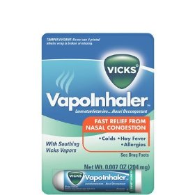 Vicks vapor inhaler soothing vicks vapors, nasal decongestant .01 oz (200 mg)