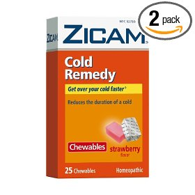 Zicam cold remedy chewables, strawberry, 25 chewable squares (pack of 2)