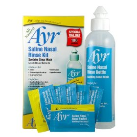 Ayr saline nasal bottle rinse kit - 100 salt mix packets