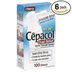 Cepacol dual relief sore throat spray cherry, 0.75-ounce bottle (pack of 6)