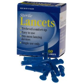 Sterile lancets. tri-bevel, single use. fits most lancing devices. 100 count. (pack of 5)