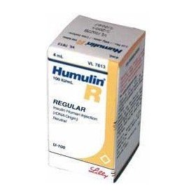 Lilly humulin r insulin usp (rdna) 100units/ml, vial of 10ml