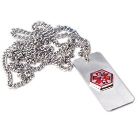 Medical emergency necklace -