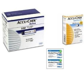 Accu-chek aviva 100 test strips 102 lancets and 100 alcohol pads
