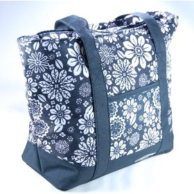 Hampton's cool black flowers - cooling iinsulated lunch bag/ purse with large cold pack size:10inch x 5inch x 10inch cools for up to 5 hours