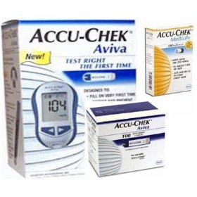 Accu-chek aviva diabetes monitoring meter and 50 aviva test strips