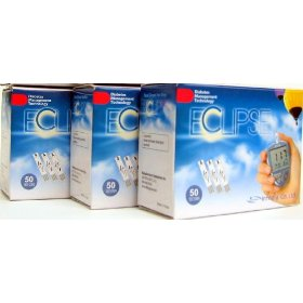 Eclipse diabetic test strips - buy 2, get 1 free!!! a total of 150 strips - expiry date 05/2011 (2) exp 06/2011 (1)