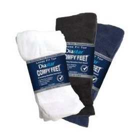 Diabetic crew socks - black: 13-15 - pack of 3