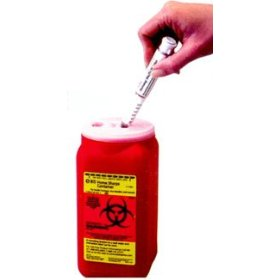 Bd home sharps container. designed to hold both insulin syringes and pen needles, the bdtm home sharps container is a leak-proof and puncture-resistant container for safe, convenient disposal of used sharps