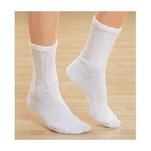 Diabetic socks, ultra light, 12pair, crew/white size 10-13