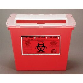 2 gallon sharps container - red