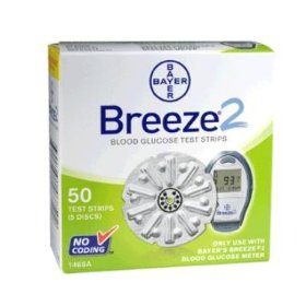 Ascensia breeze 2 blood glucose test strips - box of 50