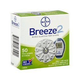 Bayer ascensia breeze 2 blood glucose test strips - box of 50