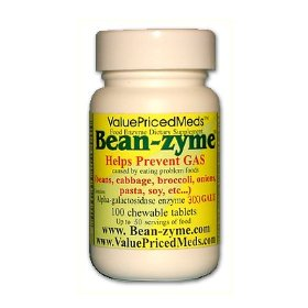 Bean-zyme anti-gas digestive aid, 100 tablets, food enzyme dietary supplement