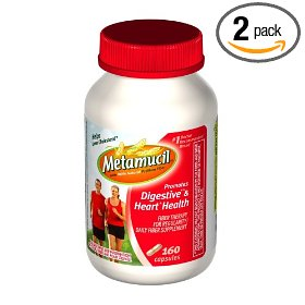 Metamucil fiber therapy for regularity fiber supplement capsules, 160-count bottles (pack of 2)
