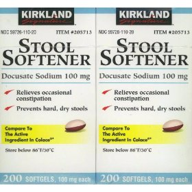 Kirkland signature stool softener docusate sodium 100 mg, set of 2 (200 softgels) boxes