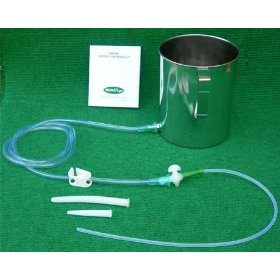 Stainless steel enema kit with pvc tubing: 2 quart container. no latex