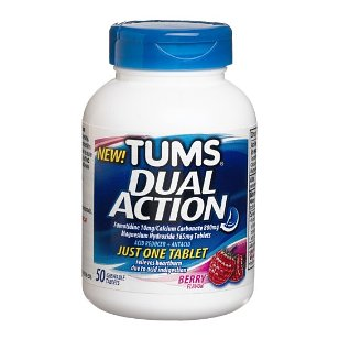 Tums dual action acid reducer plus antacid chewable tablets, 50-count bottle, berry flavor