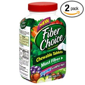Fiber choice fiber supplement, sugar-free assorted fruit chewable tablets, 90-count bottles (pack of 2)