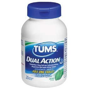 Tums dual action mint, acid reducer + antacid 25 ea