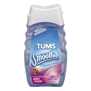 Tums smooth dissolve antacid/calcium supplement, chewable tablets 60 ea