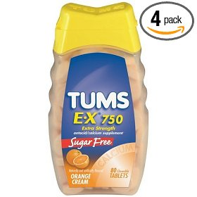 Tums antacid/calcium supplement chewable tablets, extra strength, sugar free, orange cream, 80-count bottles (pack of 4)
